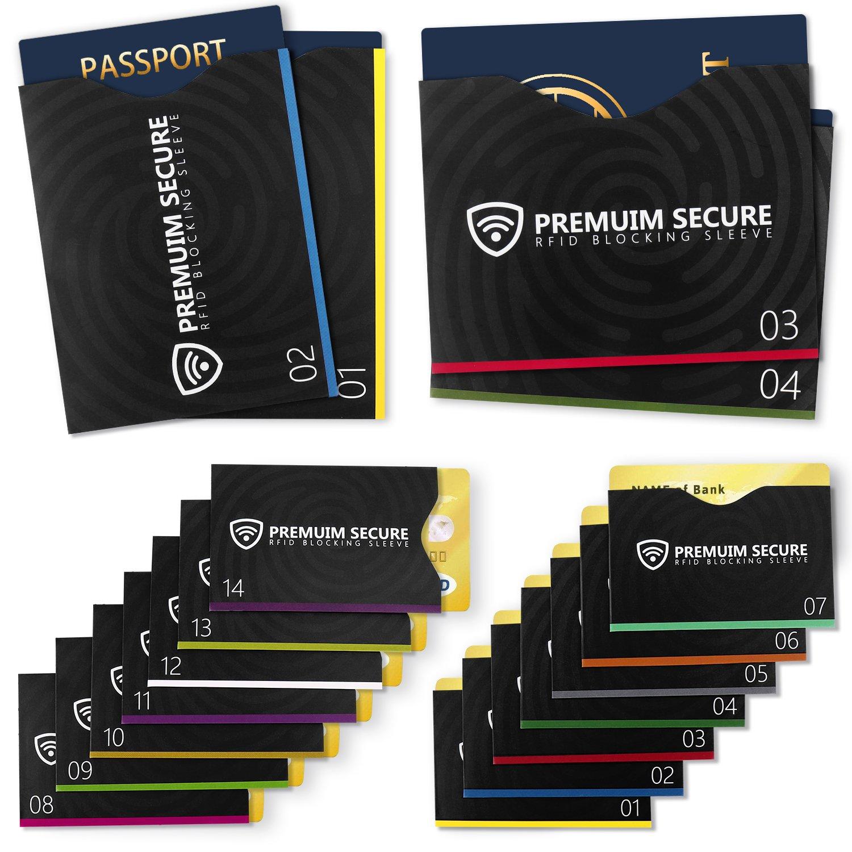 RFID Blocking Sleeves, Set of 18 (14 Credit Card Holders & 4 Passport Protectors) Against Identification Theft & Credit Card Fraud HAODELE