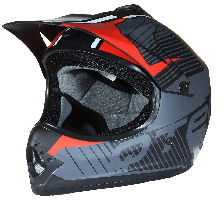 Qtech Kinder Motocross MX Helm MX BMX Quad ATV Motorradhelm Motorrad S 53-54cm Gr/ün