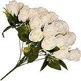ALEKO F18HRC Artificial 14.5 Inch 18 Heads Silk Cream Rose Flower Bouquet