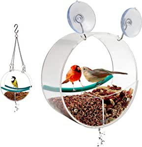 Birdious Window Bird Feeder with Suction Cups and Chains: Watch Cardinal, Finch, and Blue Jay. Outdoor Hanging Tray Birdfeeder for Attracting Wild Birds. Unusual Bird Lover Gift Ideas