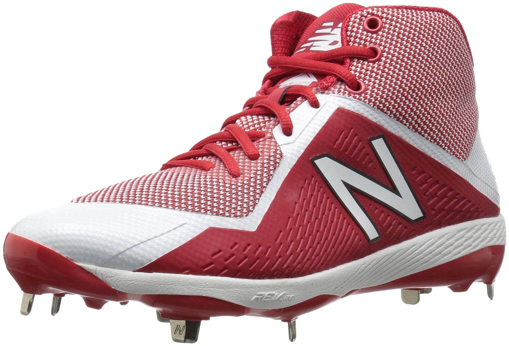 New Balance Men's M4040v4 Metal Baseball Shoe, Red/White, 5 D US