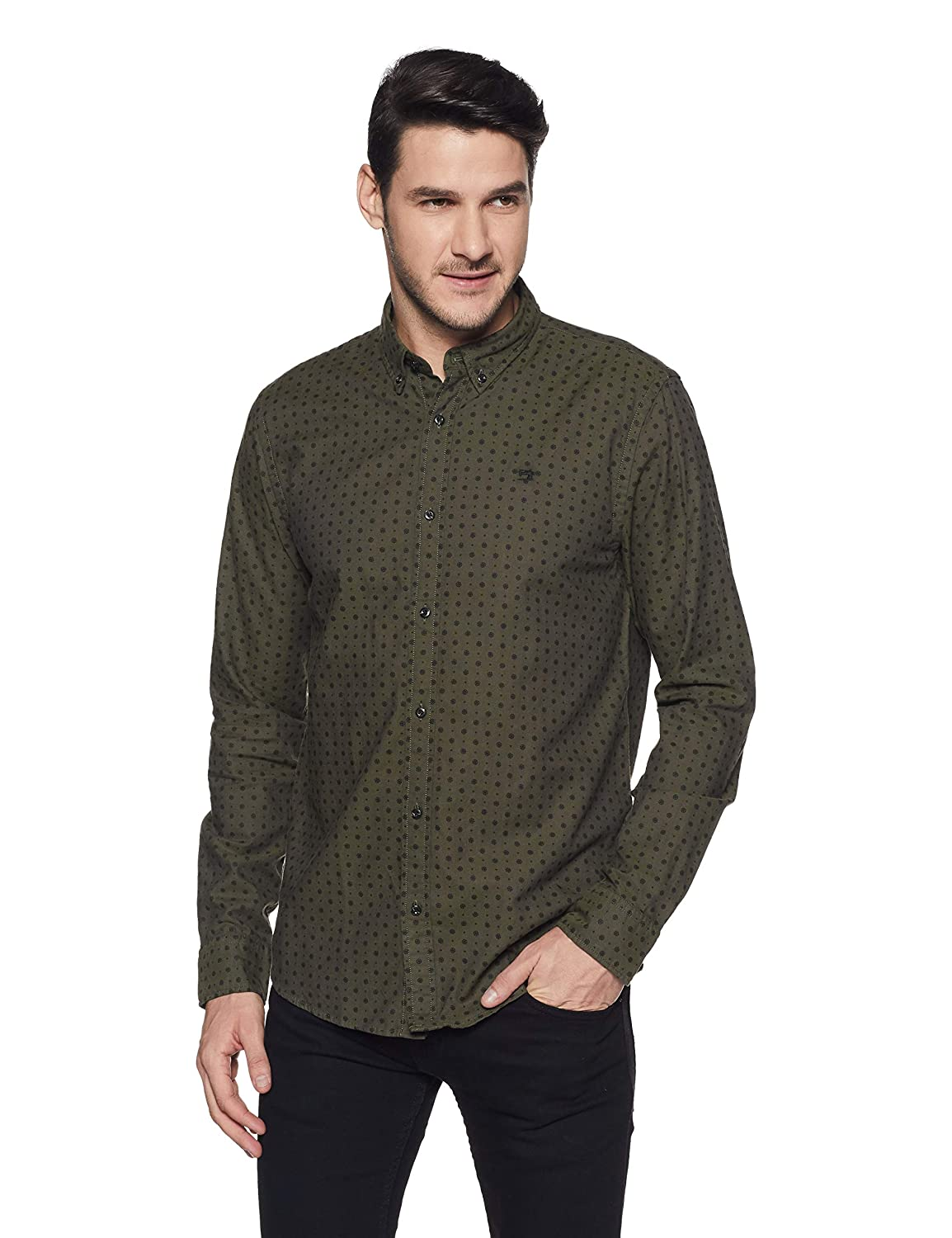 TALLA L. Scotch & Soda Regular Fit Classic Oxford Camisa para Hombre