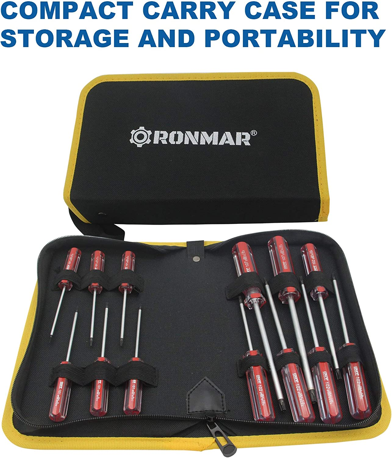 RONMAR 13-Piece Magnetic Torx Screwdrivers Set Security Tamper Proof T4、T5、T6、T7、T8、T9、T10、T15、T20、T25、T27、T30、T40