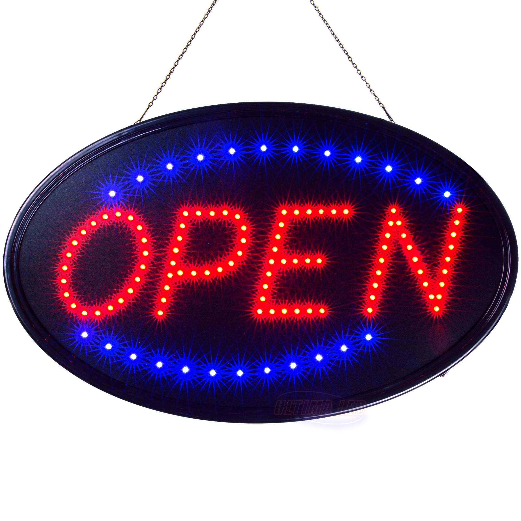 Large LED Neon Open Sign for Business: Jumbo Lighted Sign Open with Static and Flashing Modes - Electric Light up Signs for Stores, Bars, Barber Shops (23 x 14 inches, Model 3) by Ultima LED