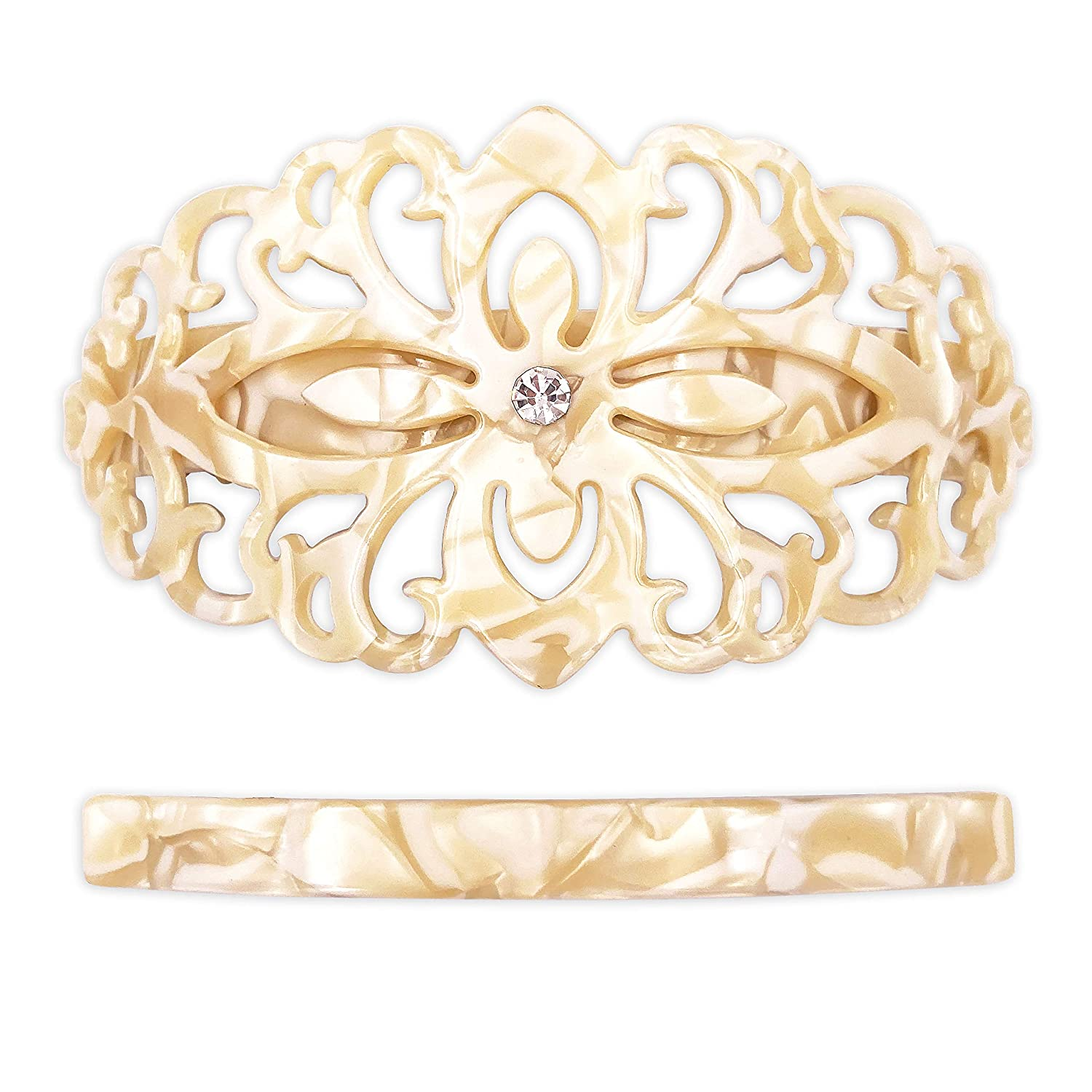 Strong Large Hair Barrette Set For Thick Hair Ivory White Marble Filigree for Women : Beauty