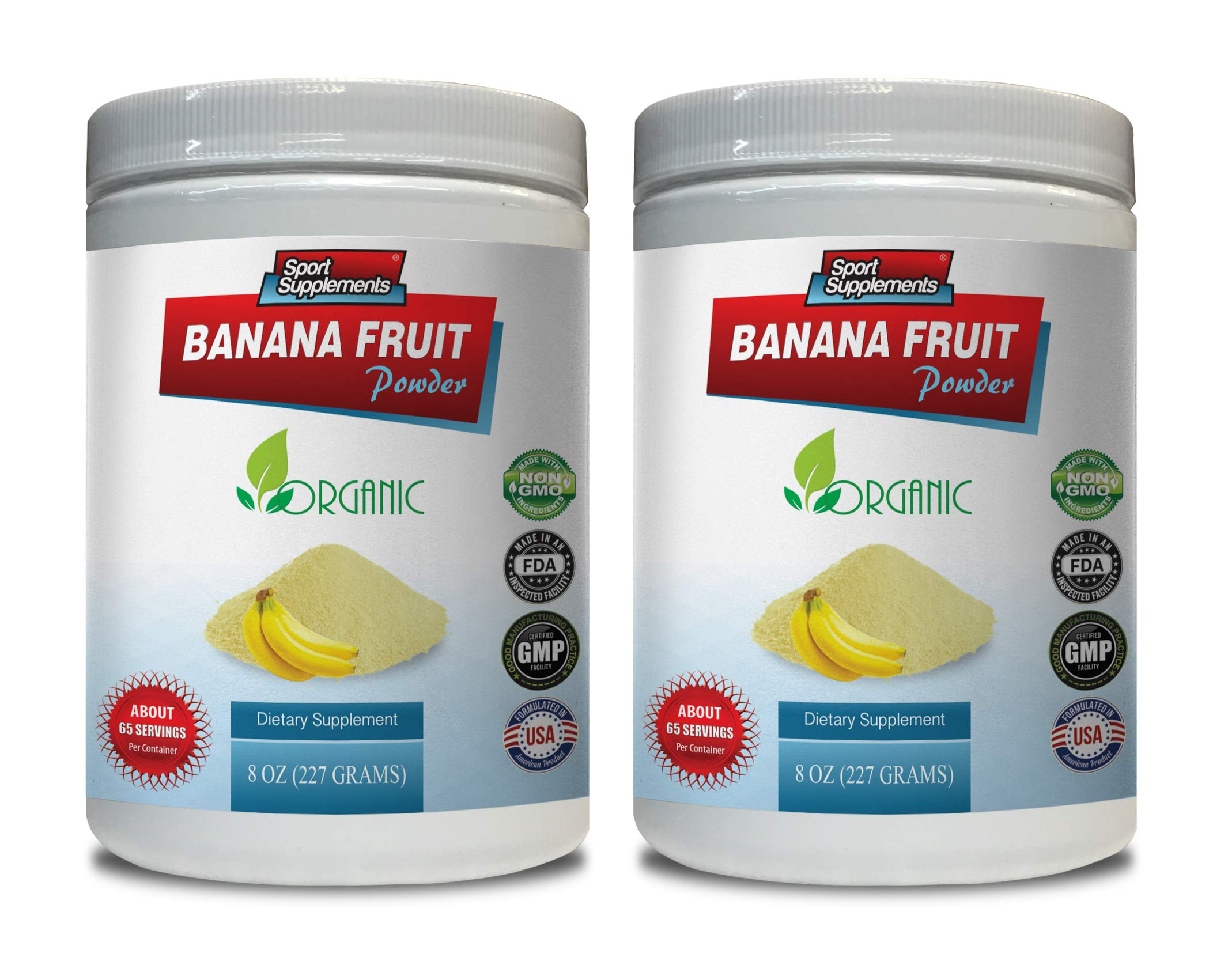 Energy boosters and Weight Loss Supplements - Banana Fruit Powder - Organic Dietary Supplement - Banana Fruit Powder - 2 Cans 16 OZ (130 Servings)