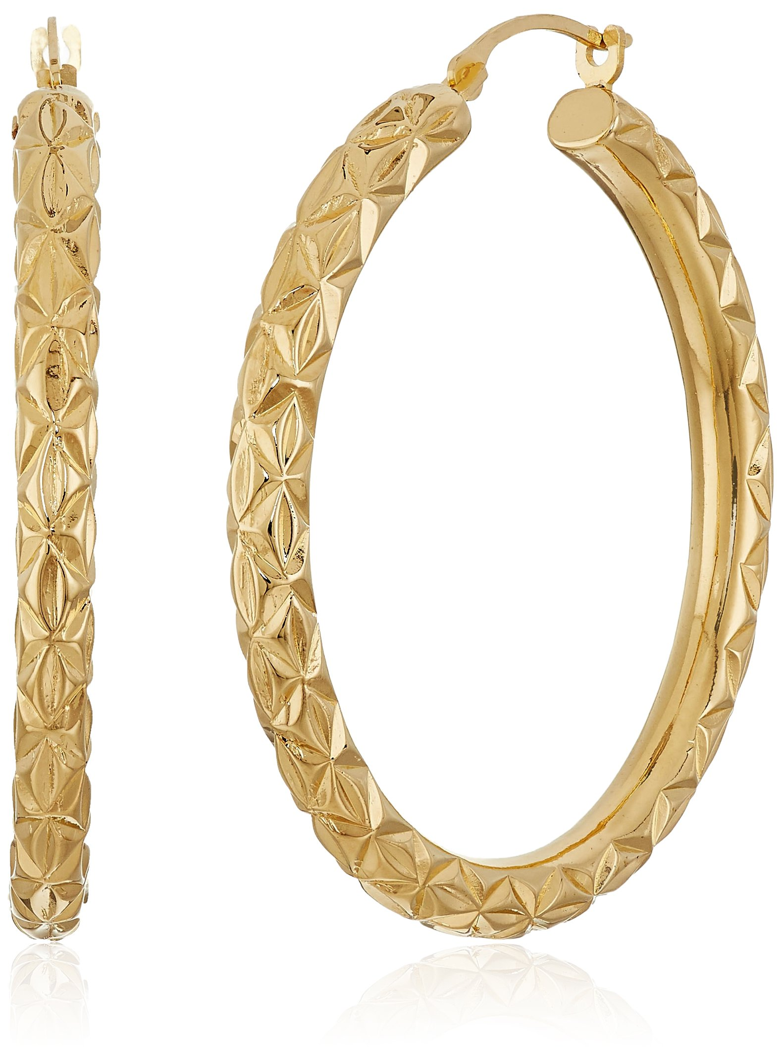14K Yellow Gold Nano Diamond Resin Diamond Cut and Textured Hoop Earrings