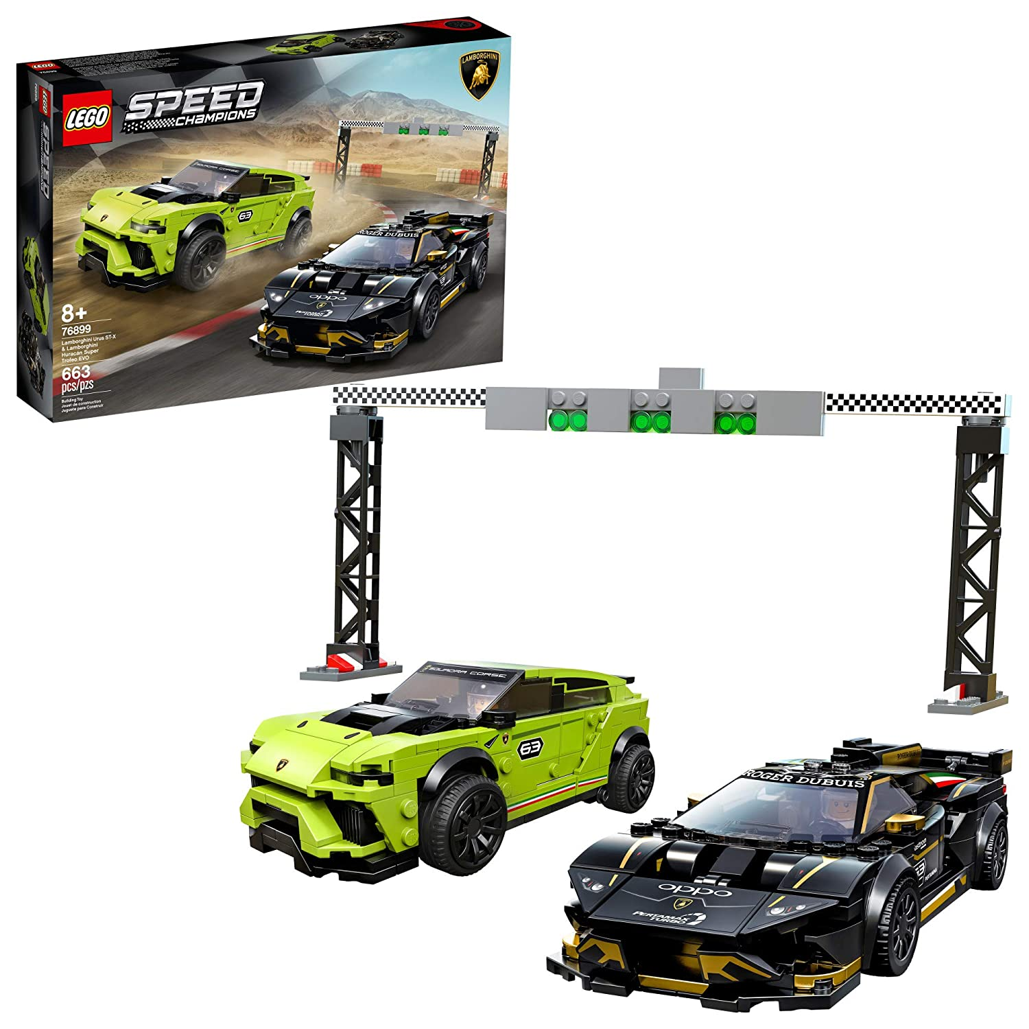LEGO Speed Champions Lamborghini Urus ST-X and Lamborghini Huracán Super Trofeo EVO 76899 Building Kit, New 2020 (663 Pieces)