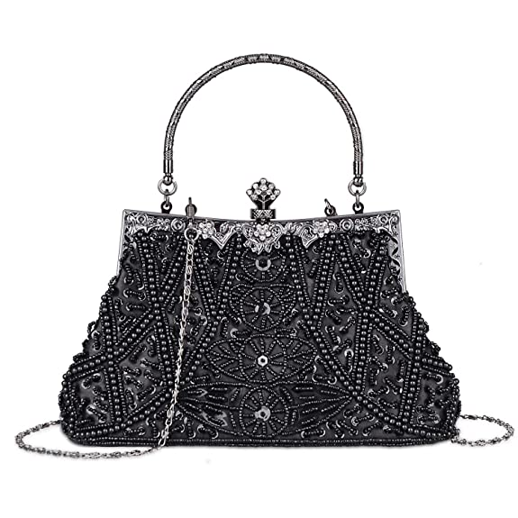 1920s Accessories | Great Gatsby Accessories Guide Kisschic Womens Vintage Beaded and Sequined Evening Bag Wedding Party Handbag Clutch Purse $25.98 AT vintagedancer.com