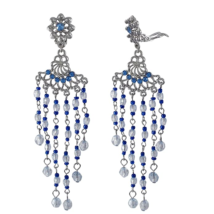 Rhodium Finish Blue Crystals Chandelier Dangle Earrings