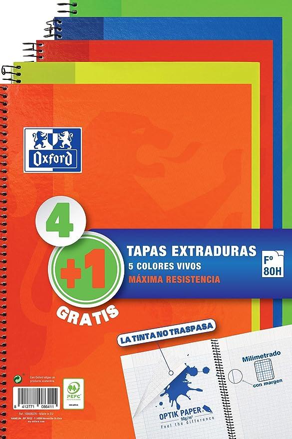 Pack 4+1 Cuadernos Folio(A4) Oxford. Tapa Extradura Write&Erase. 80 Hojas cuadrícula 4x4. Surtido vivos: Amazon.es: Oficina y papelería