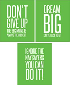 Ignore The Naysayers 3 Poster Set Famous Quotes Teen Boy Girl Sports Wall Art Decorative Prints Workout Fitness Wall Decor Home Office Business Classroom Dorm Gym Entrepeneur (8 x 10 Lime Green)