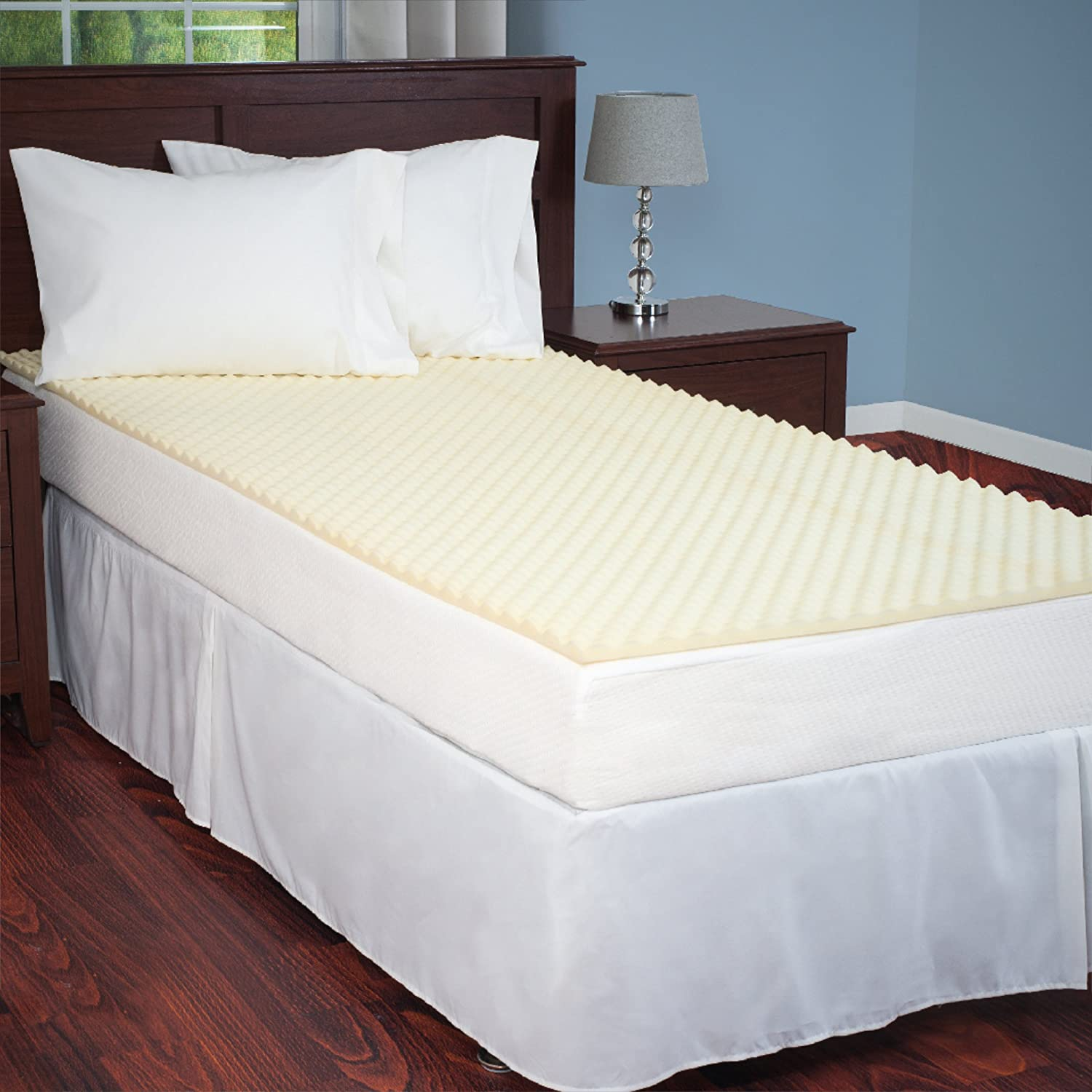 Amazon.com: Egg Crate Mattress Topper Twin XL designed to add extra comfort  and support. Great for dorms, hospital beds, cots, campers, more -by  Everyday ...