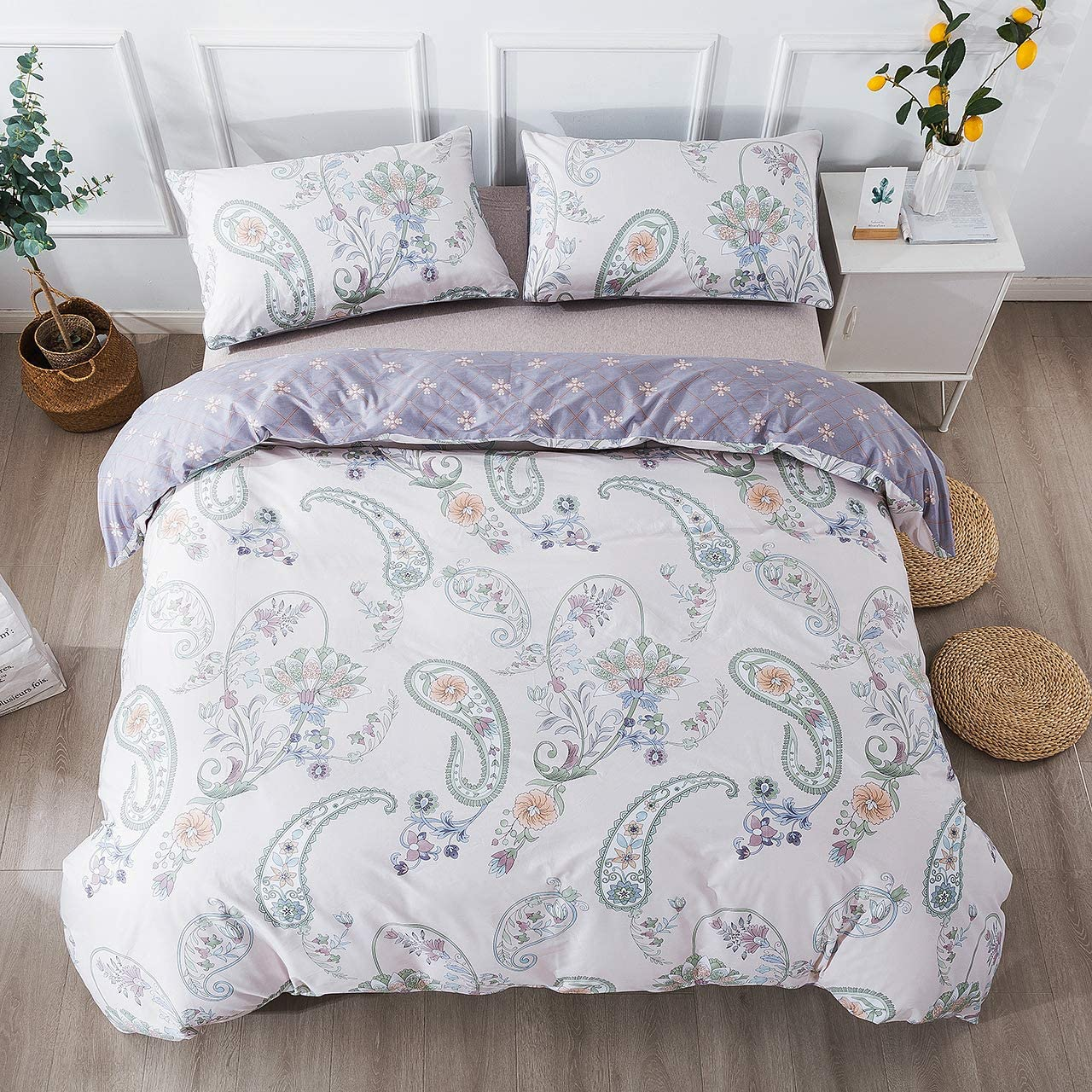 FADFAY Paisley Duvet Cover Set Beige Purple Reversible Paisley Floral Bedding 100% Cotton Soft Bedding Set with Hidden Zipper Closure 3 Pieces, 1Duvet Cover & 2Pillowcases, King/California King Size