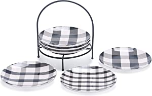 Bico Plaid Check Black and White 6 inch Ceramic Appetizer Plate with Rack, Set of 7, for Salad, Appetizer, Snacks, Plates Microwave & Dishwasher Safe