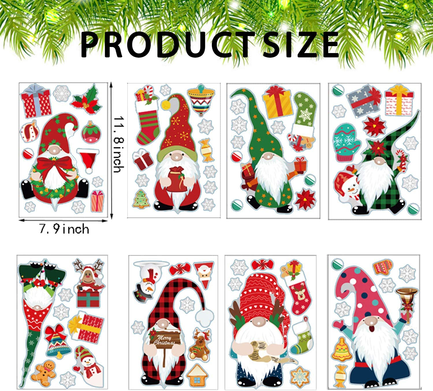 kockuu 79pcs Large Christmas Gnomes Tomte Window Clings Snowflake Static Window Decal Stickers for Winter Christmas Winidow Decoration 8 Sheets