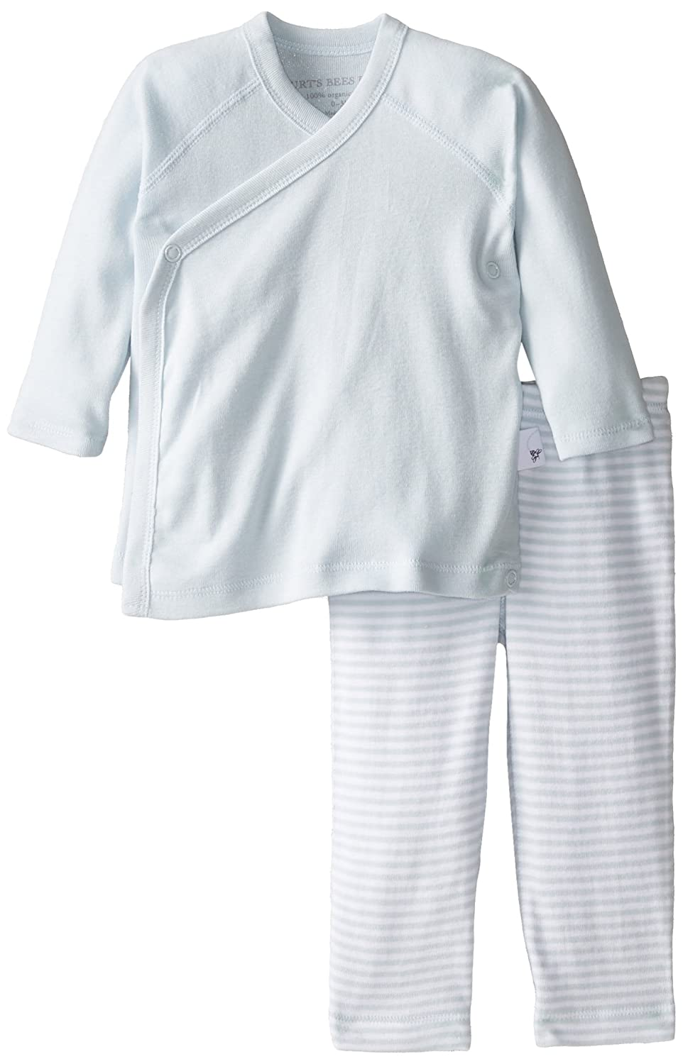 Burt's Bees Baby Essentials Solid Kimono Top + Honey Print Footless Pant Set