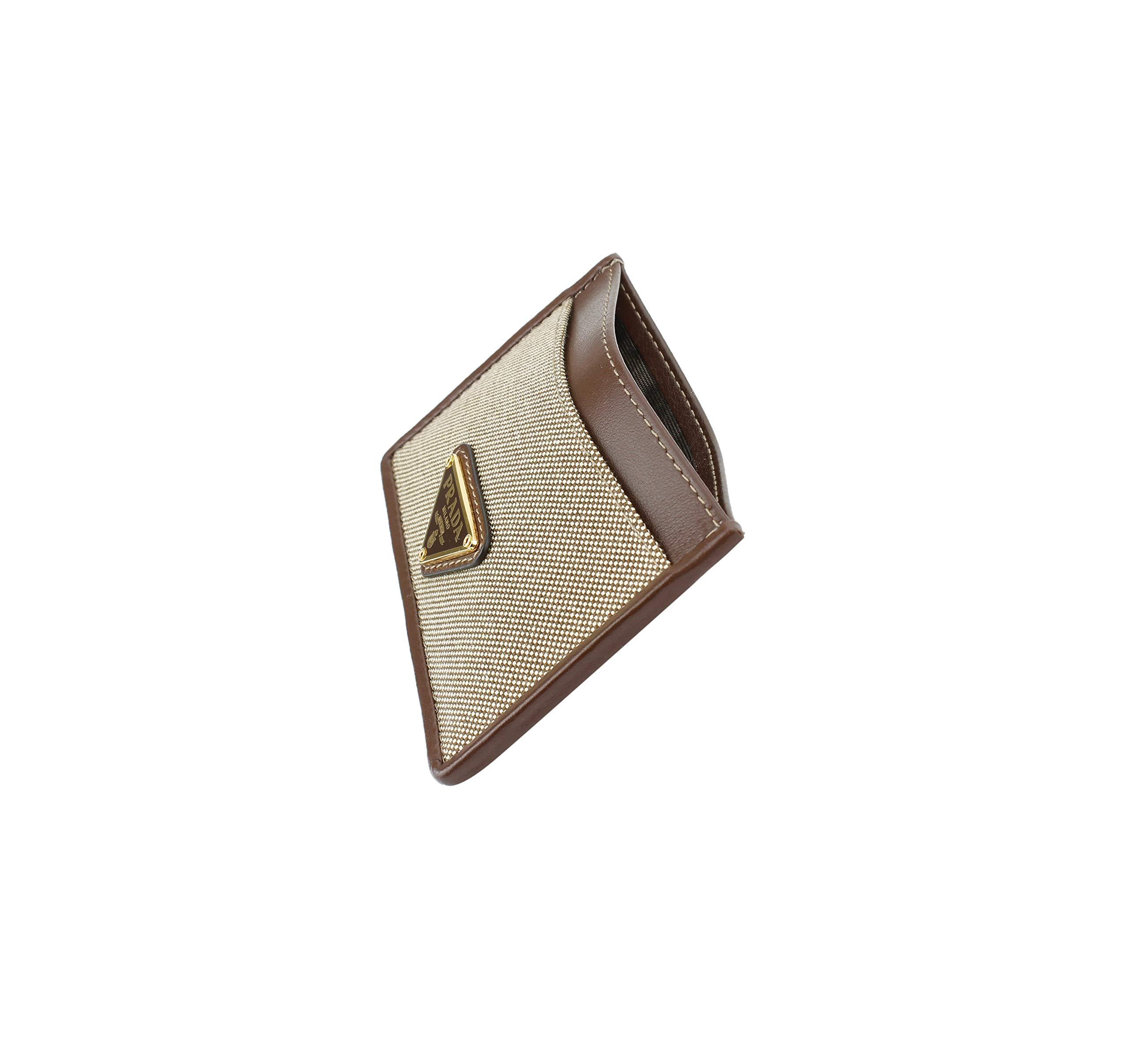 Prada Corda Canvas Logo Plaque Card Case Holder, Brown/beige by Prada (Image #3)