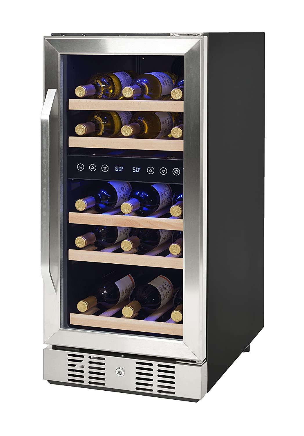 NewAir Dual Zone Built In Wine Cooler and Refrigerator 29 Bottle Capacity Fridge with Double Layer Tempered Glass Door AWR 290DB