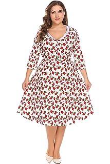 efbcadfb17af Zeagoo Womens Plus Size 3 4 Sleeve Elegant Vintage Cocktail Swing Dress