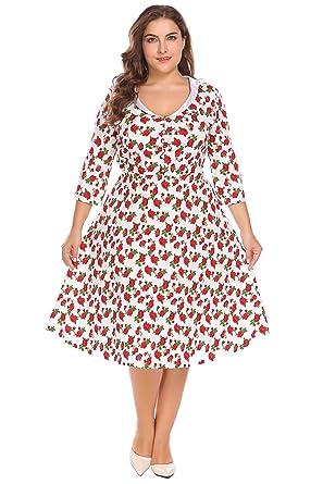 4c49f844f53 Zeagoo Womens Plus Size 1950s Vintage Girls Rockabilly Cocktail Midi Dress  White