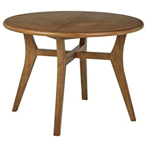 "Rivet Ian Modern Wood Round Dining Room Kitchen Table, 42""W, Brown"