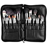 SanSiDo Makeup Brush Bag 32 Pockets Makeup Bag Professional Cosmetic Zipper PU Leather Makeup Organizer Travel Cosmetic Bag Artist Belt Strap Brush Holder (Brushes are not included)