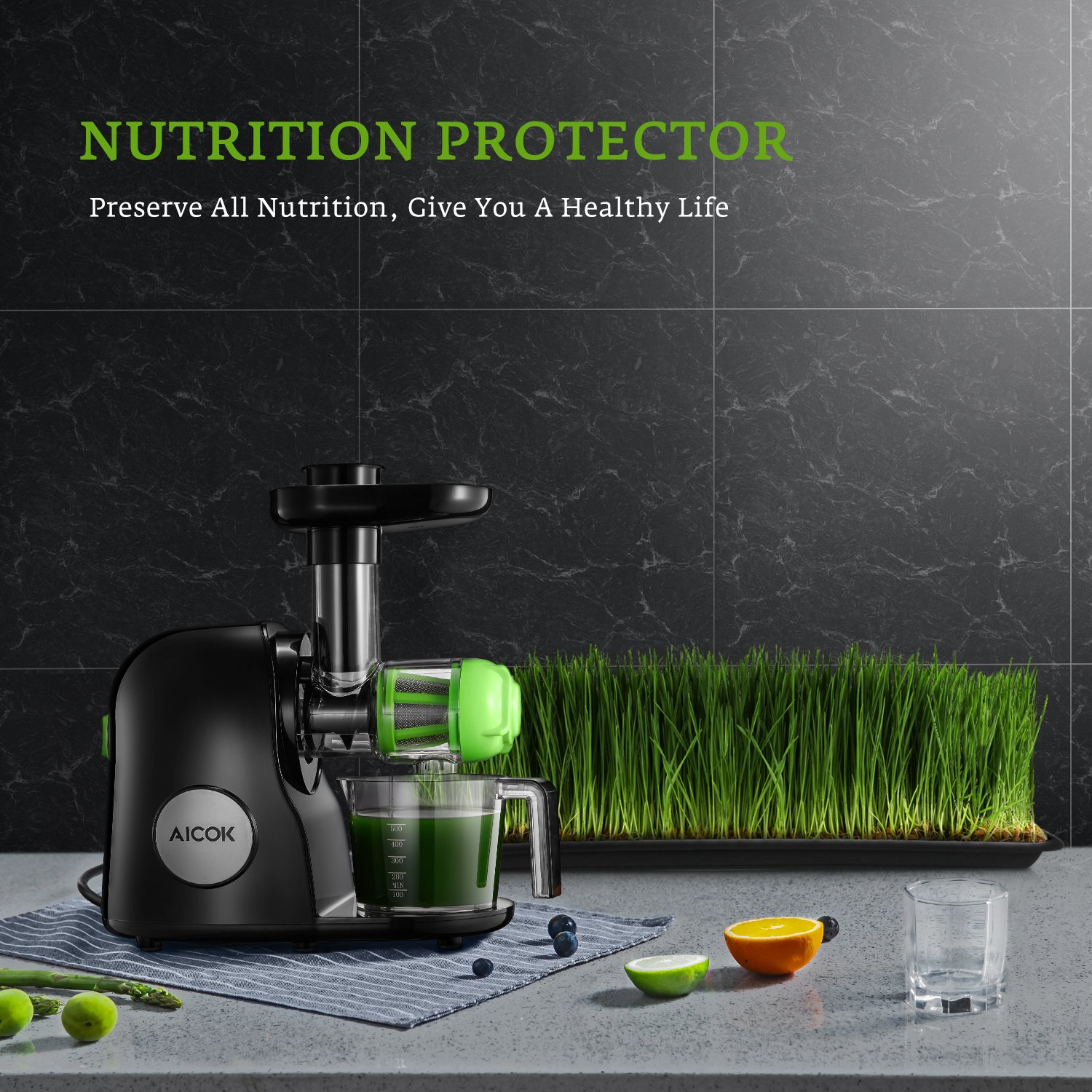 Juicer Masticating Slow Juicer Extractor, Aicok Juice Quiet Motor & Reverse Function, BPA Free, Cold Press Juicer Easy to Clean with Brush, Juice Machine Recipes for Vegetables and Fruits by AICOK (Image #8)