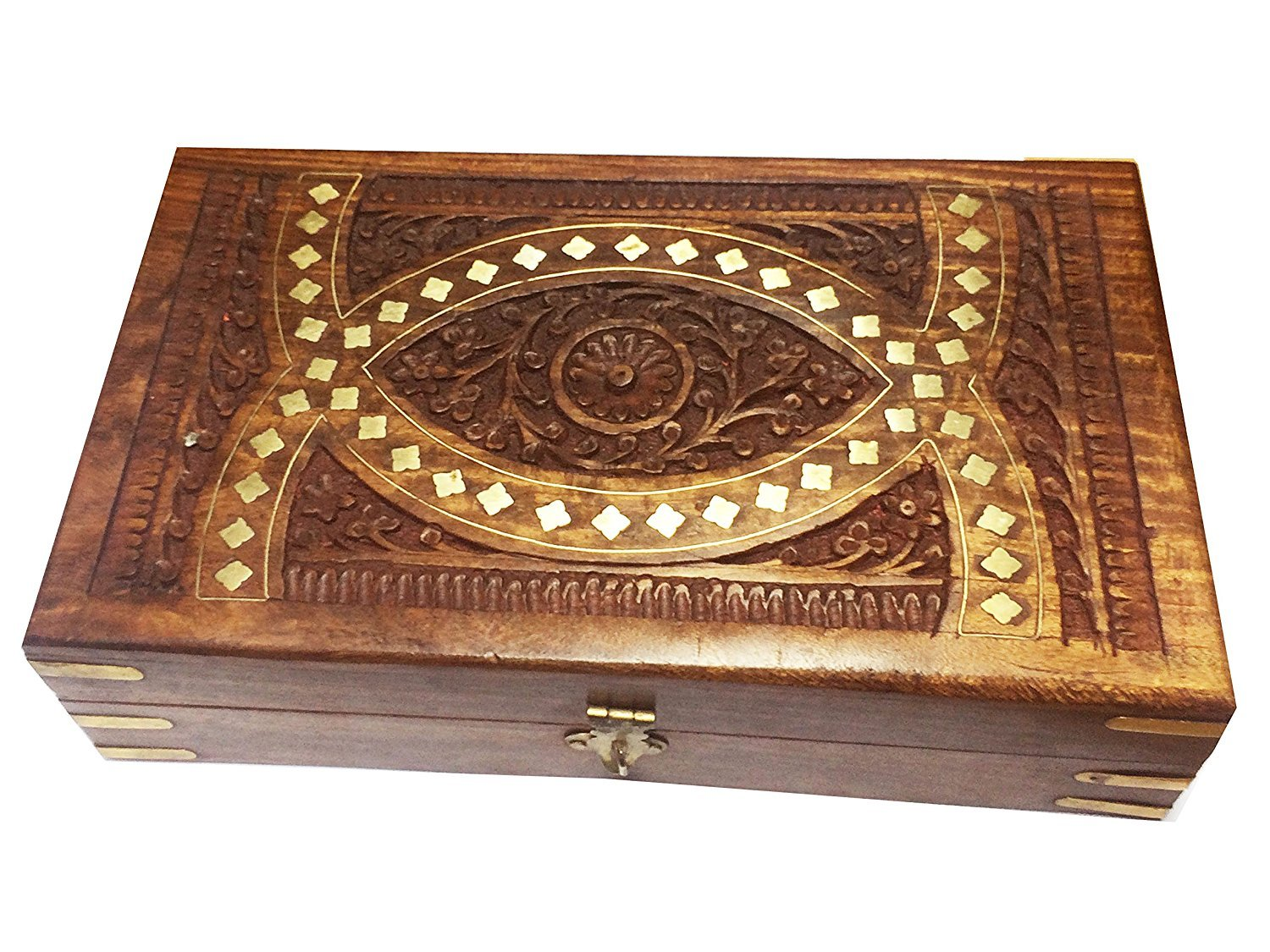 Khandekar (with device of K) Wooden Oval Carving Inlay jewelry box, Storage Box, Vintage Box, Brown Color Keepsake Box 10x6inch, Easter Day/Mother Day/Good Friday Gift