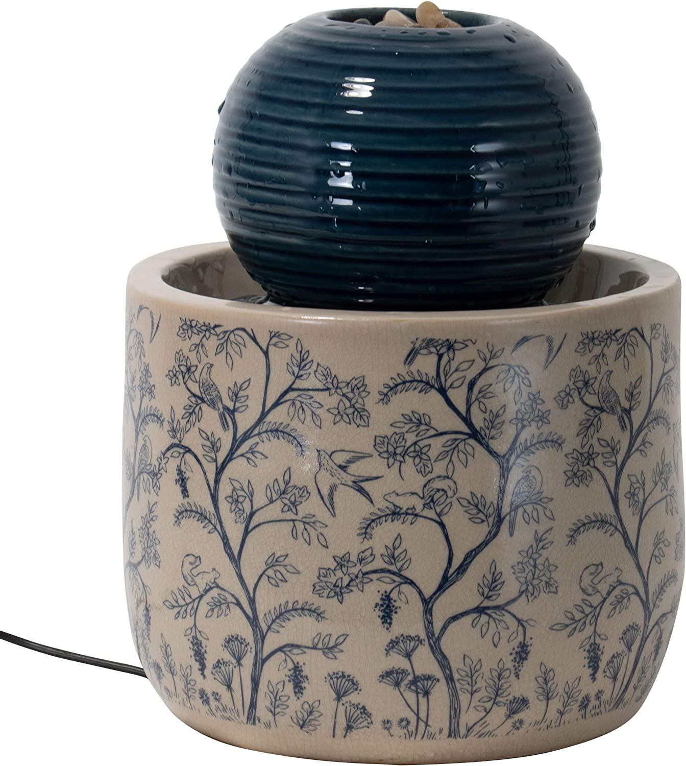 Foreside Home and Garden Multicolor Chinoiserie Ceramic Indoor Water Fountain with Pump