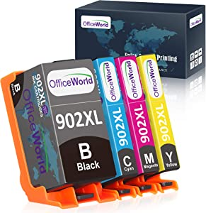 OfficeWorld Remanufactured Ink Cartridge Replacement for HP 902 XL 902XL Ink Cartridge to use with OfficeJet Pro 6978 6968 6970 6975 6954 New Upgraded Chips (Black, Cyan, Magenta, Yellow, 4 Pack)