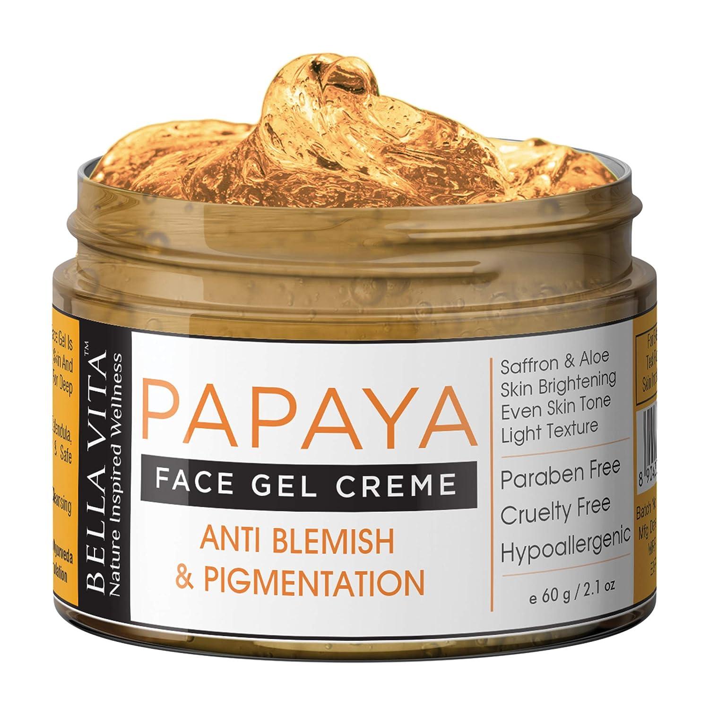 Bella Vita Organic Papaya Face Cream Gel For Glow, Pigmentation Blemish Removal With Saffron, 60 grams