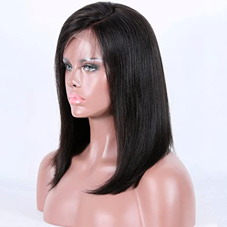 ... Human Hair Wigs for Women Short Brazilian Virgin Human Hair 4.5 Glueless Lace Front Wigs with Baby Hair 150% density 12 Inches Natural Color : Beauty