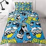 BATMAN DC Copripiumino per letto singoloa tema Dc Comics Batman, design ripetuto più volte