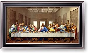 A&T ARTWORK The Last Supper by Leonardo Da Vinci The World Classic Art Reproductions,Giclee Prints Framed WallArt for Home Decor,Image Size:24x12 inches,Black Sliver Edge Framed Size:27.6x15.6 inchs