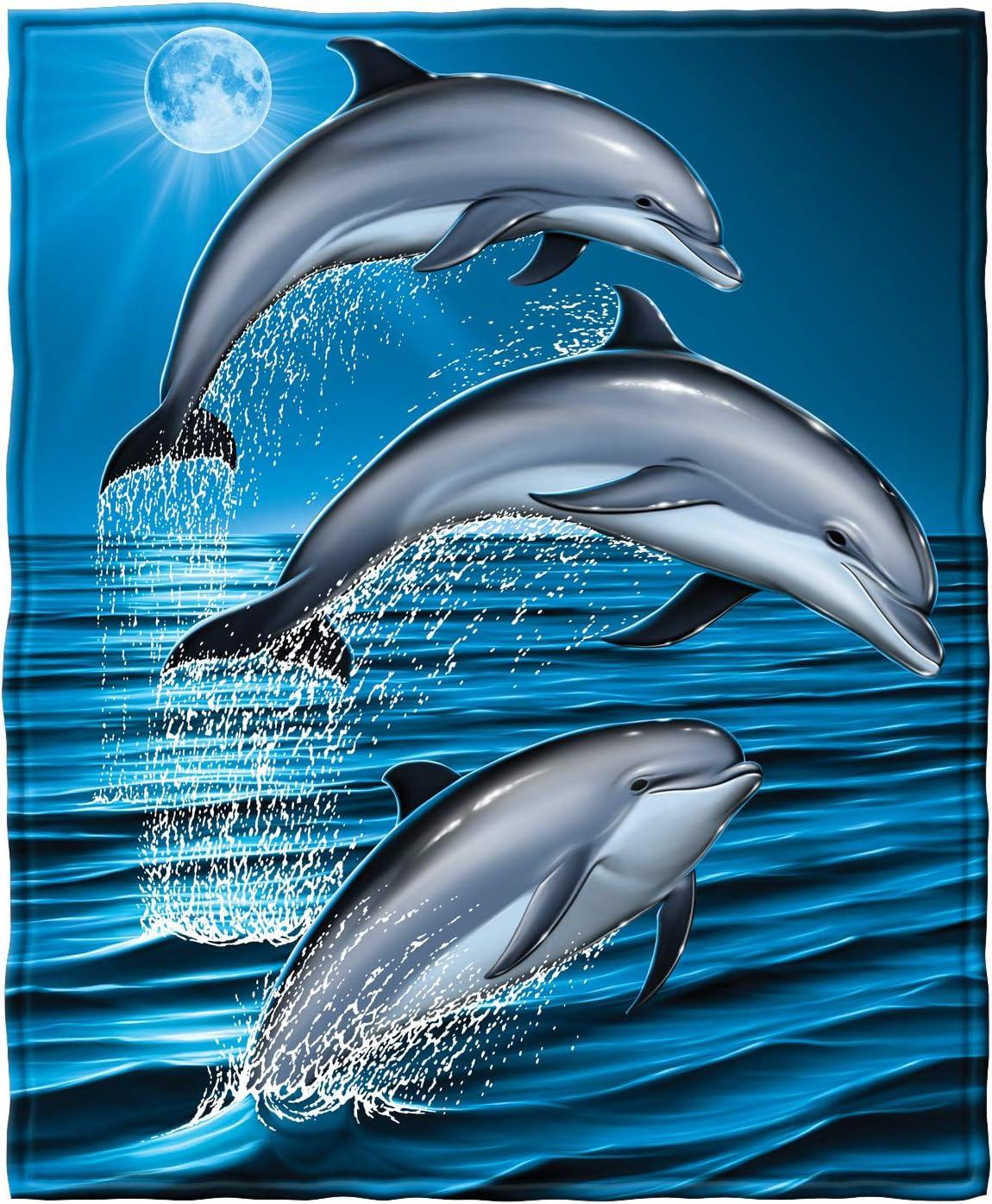 "Dawhud Direct Super Soft Full/Queen Size Plush Fleece Blanket, 75"" x 90"" (Dolphins)"