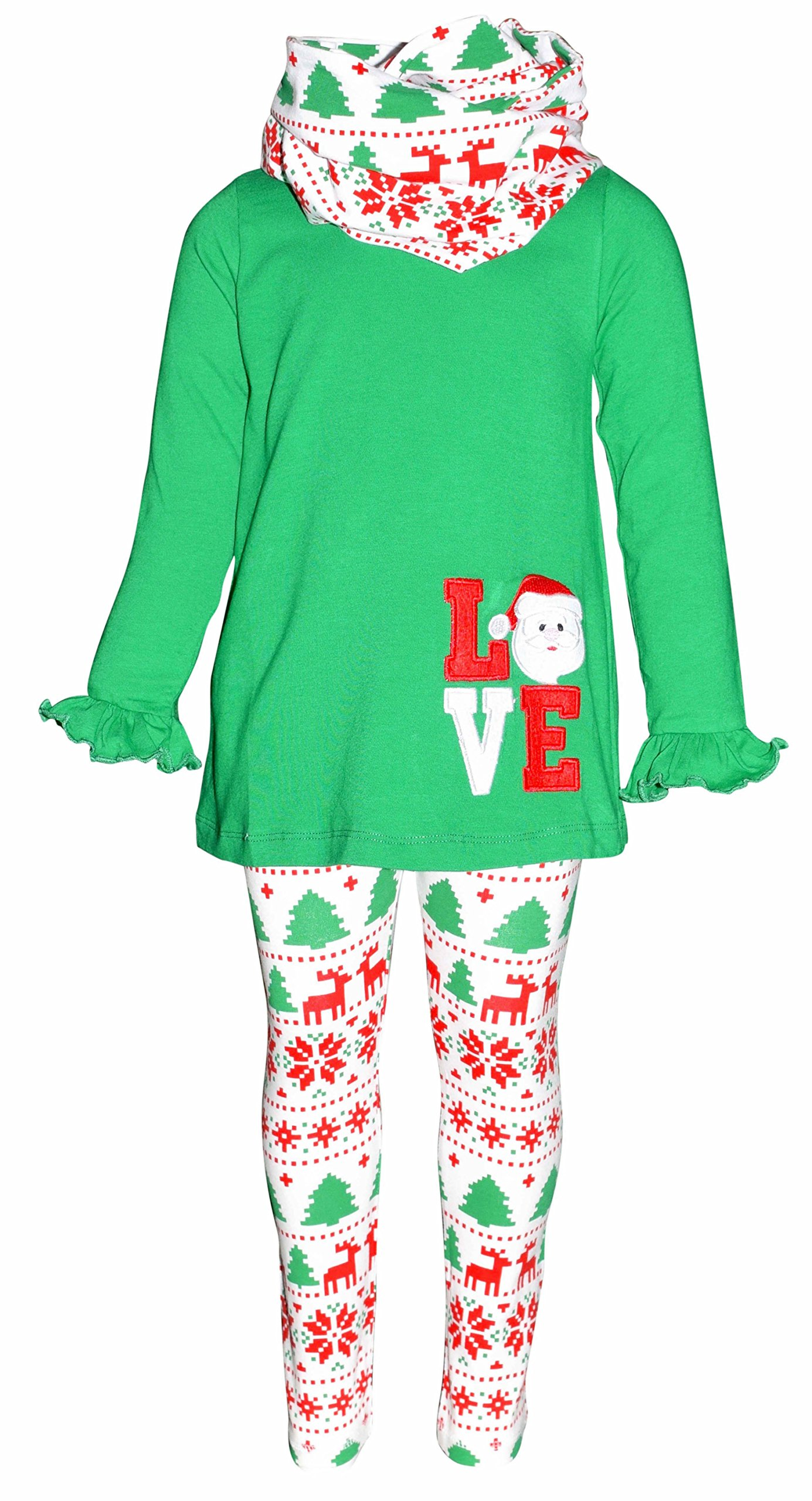 Unique Baby Girls 3 Piece Christmas Santa Love Embroidery Outfit (5)