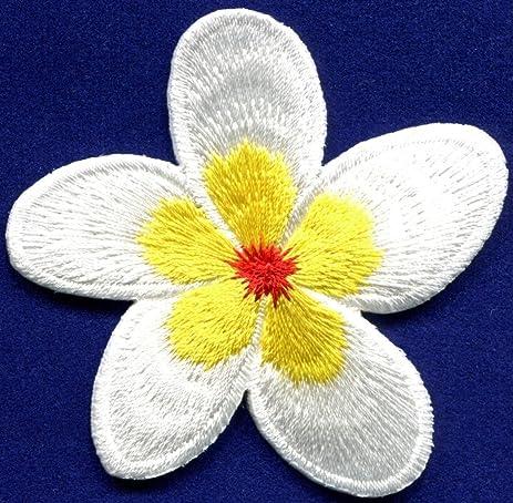Amazon plumeria white oleander flower boho love sew sewing plumeria white oleander flower boho love sew sewing applique iron on patch s 516 mightylinksfo