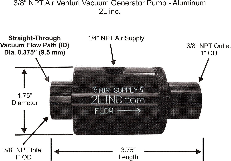 """2L inc. 3/8"""" NPT Air Venturi Vacuum Generator Pump (Anodized Aluminum) with .375"""" (9.5 mm) Bore Diameter"""
