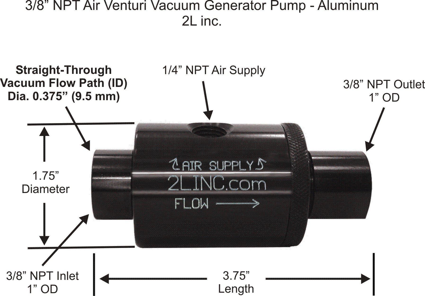 2L inc. 3/8'' NPT Air Venturi Vacuum Generator Pump (Anodized Aluminum) with .375'' (9.5 mm) Bore Diameter