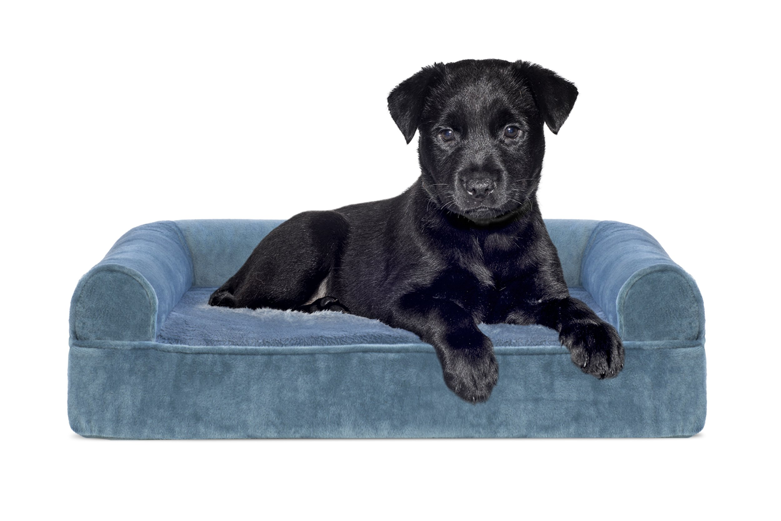FurHaven Orthopedic Faux Fur & Velvet Sofa-Style Couch Pet Bed for Dogs and Cats, Harbor Blue, Small