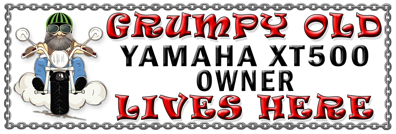 SHAWPRINT Grumpy Old YAMAHA XT500 Owner Lives Here metal sign//plaque funny 45H2