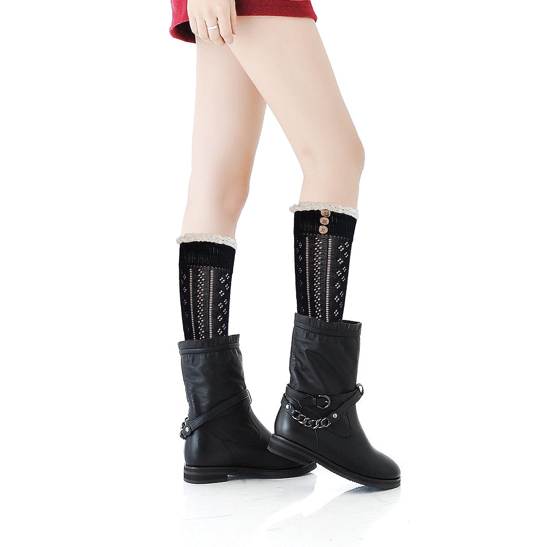 Mujeres rodilla calcetines altos con el cordón de algodón y botones abiertas calcetines de punto de ganchillo de moda para niñas (1 par negro): Amazon.es: ...