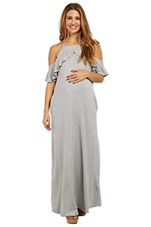 bf38817c0a1c4 Image Unavailable. Image not available for. Color: PinkBlush Maternity Heather  Grey Ruffle Trim Open Shoulder Maxi Dress ...