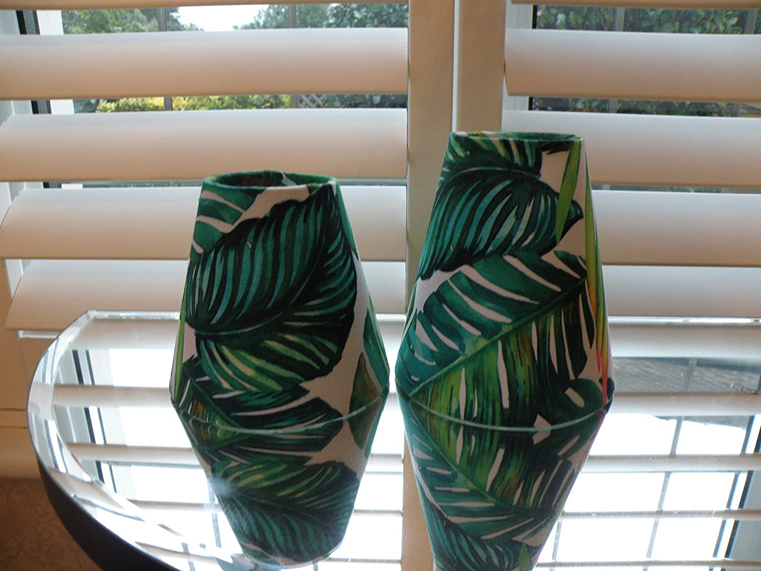 Bespoke Candle Clip Lampshade in Botanical Tropical Palm Green 2 Sizes