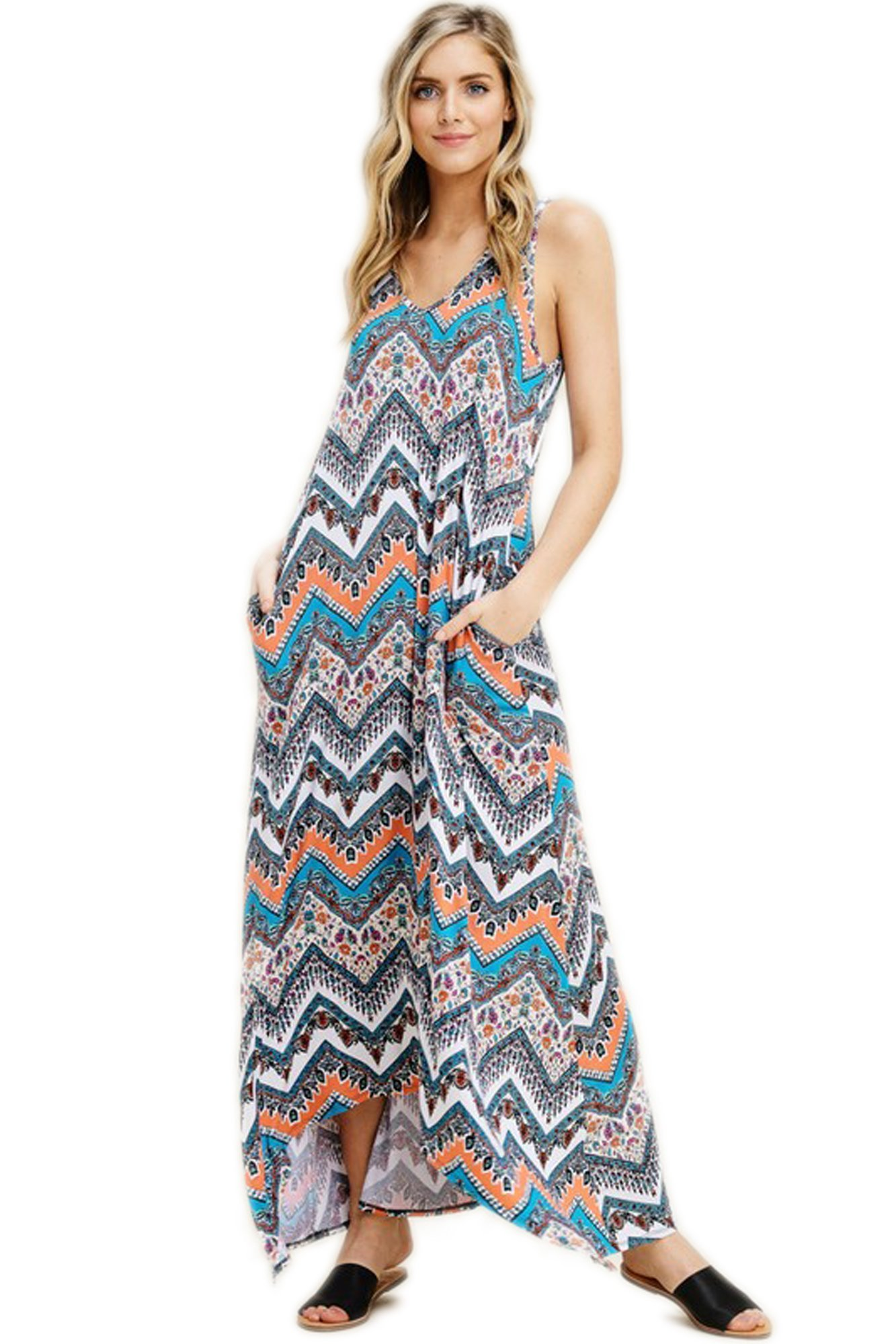 ViiViiKay Women's Summer Casual Solid Side Pockets Loose Beach Cami Maxi Dresses D32_Coral S