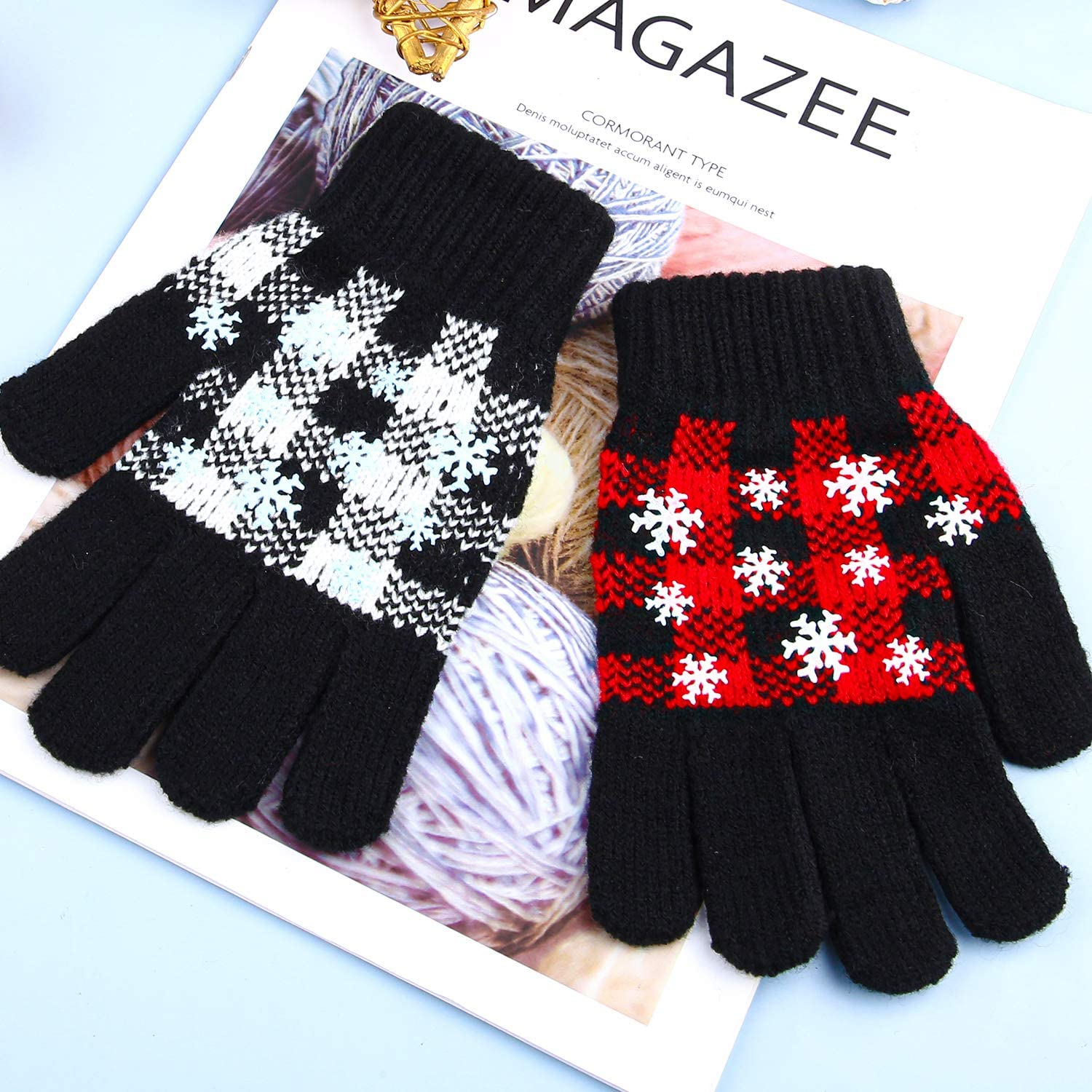 Cooraby 12 Packs Christmas Kids Winter Gloves Magic Stretch Gloves Warm Knitted Gloves for Boys and Girls Christmas Favor
