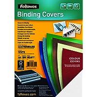 Fellowes  5370104 Delta - Pack de 100 Couvertures de reliure Grain Cuir A4  - Blanc