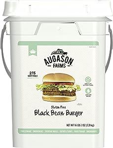 Augason Farms Gluten Free Black Bean Burger 16 lbs 2 oz 4 Gallon Pail