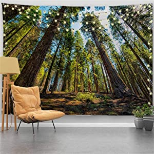 """PROCIDA Home Tapestry Wall Hanging Nature Art Polyester Fabric Tree Theme, Wall Decor for Dorm Room, Bedroom, Living Room, Nail Included - 90"""" W x 71"""" L (230cmx180cm) - Cedar"""